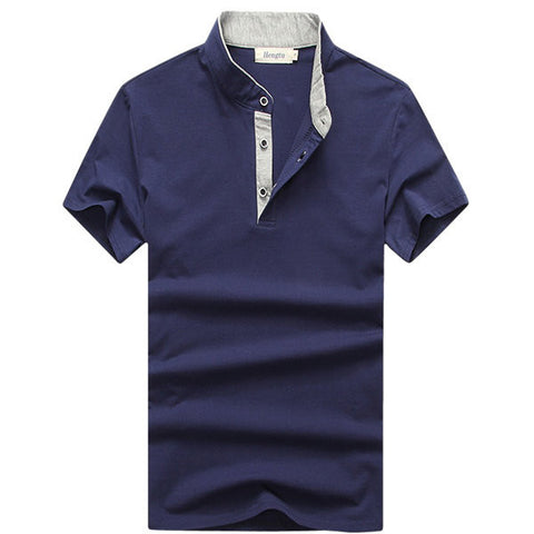 Mens Casual Stand Collar Polo Shirt