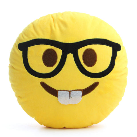 Kawaii Large Front Teeth Nerd Emoji Pillow Emoticon Plush PP Cotton Soft Toy