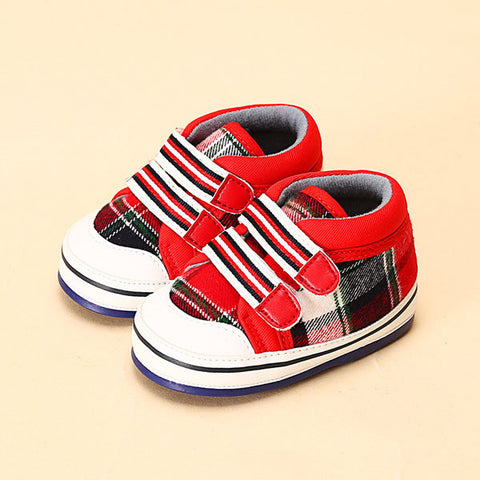 Toddler Breathable Unisex Plaid Canvas Baby Shoes For 0-12 Months