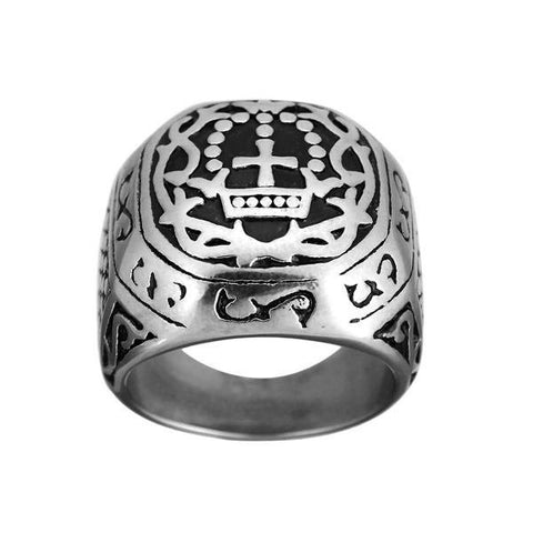 Cross Totem Carved Wide Stainless Steel Ring