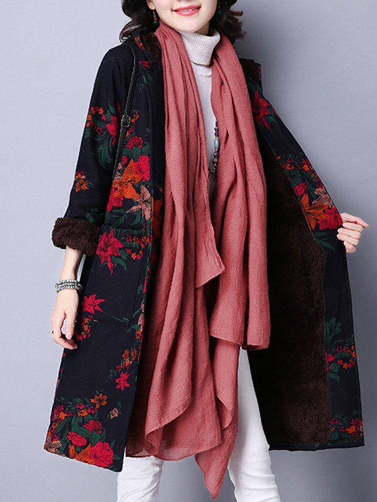 Women Single-Breasted Floral Printed Long Sleeve Hooded Thicken Coat
