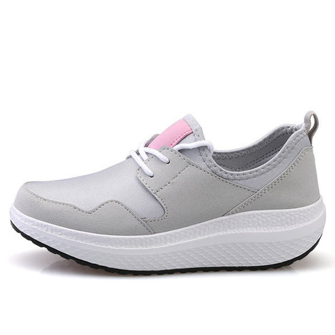 Breathable Cloth Platform Rocker Sole Sport Lace Up Shoes