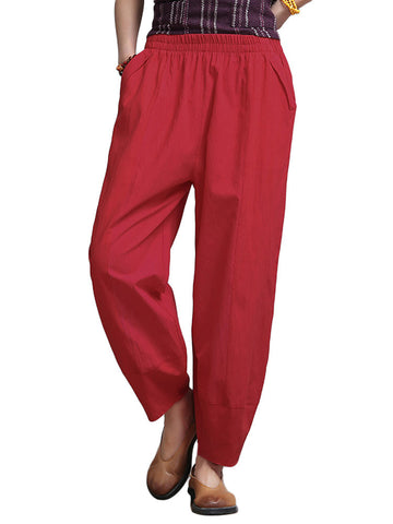 Solid Loose Wide Leg Vintage Pant