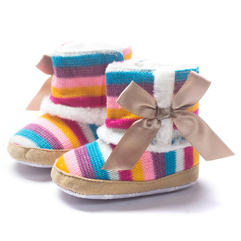 Baby Warm Ankle Bowknot Slip On Weave Knitting Rainbow Boots