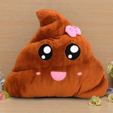 Funny Poo Shape Bowknot Stuffed Throw Pillow Bed Sofa Chair Cotton Cushion