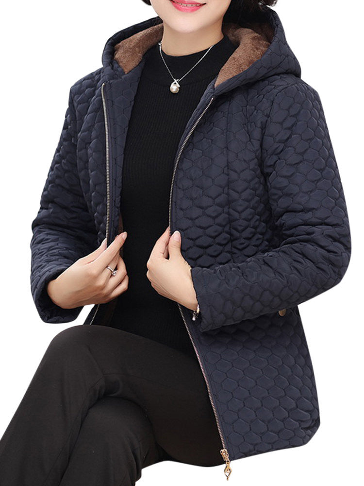Pure Color Long Sleeve Zipper Hooded Thicken Coat