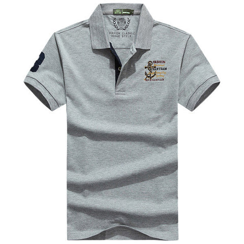 Mens Solid Color Letters Printing Casual Polo Shirt
