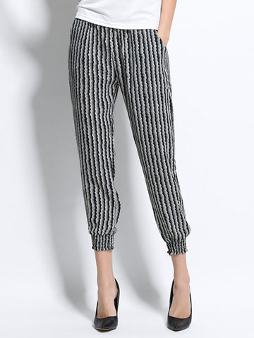 High Waist Stripe Casual Nine Point Lantern Capri Pant