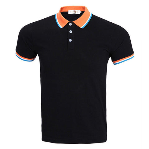 Solid Color Short Sleeve Polo Shirt For Men