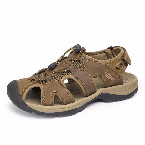 Big Size Men Leather Hollow Out Toe Protecting Lace Up Hook Loop Beach Sandals