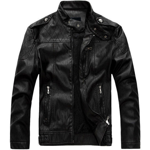 European American Style Thicken Warm PU Leather Jacket Motorcycle Coat For Men