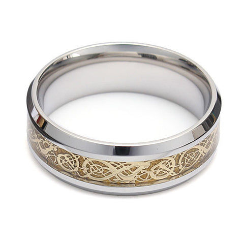 Dragon Scroll Inlay Band Titanium Steel Finger Ring