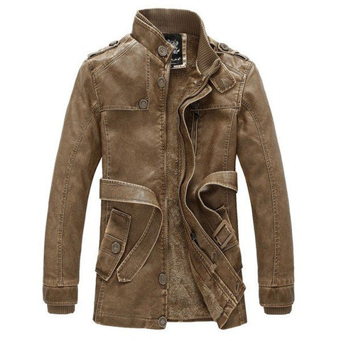 Fashion Classical Thicken Stand Collar PU Leather Slim Jacket for Men