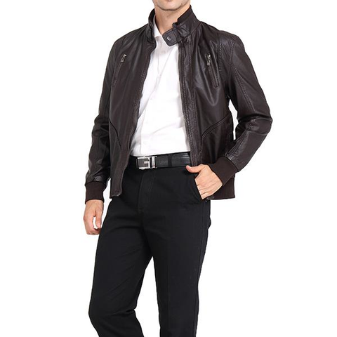 Business Outdoor PU Leather Jacket Zipper Chest Pocket Button Stand Collar Coat For Men