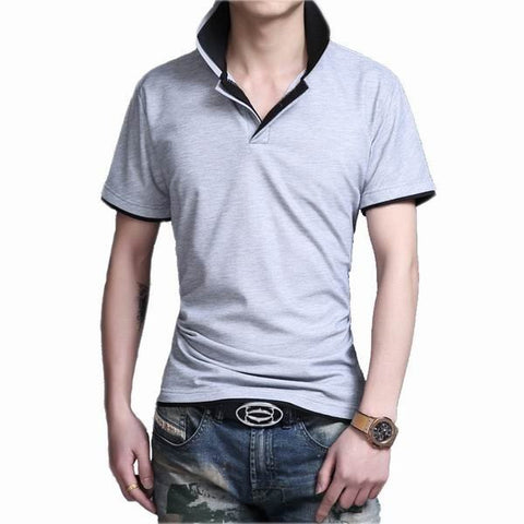 Mens Slim Fit Casual Short Sleeved Polo Shirts