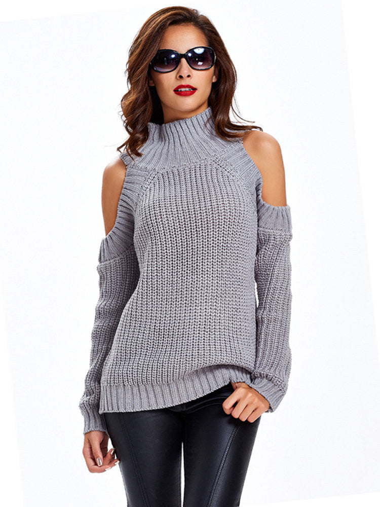 Women Casual Off-shoulder Stand Collar Long Sleeve Sweater