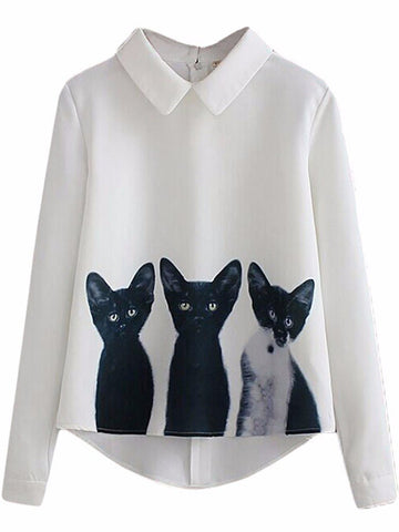 """Minou Love'' Cartoon Cat Printed Blouse"