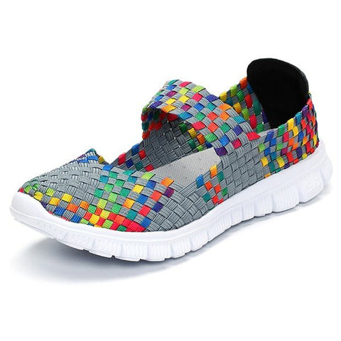 Colorful Slip On Elastic Knitting Flat Casual Sport Shoes