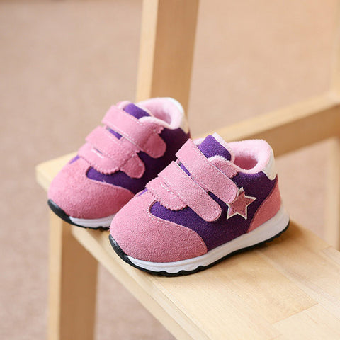 Toddler Sneakers Star Warm Fur Shoes For Kids
