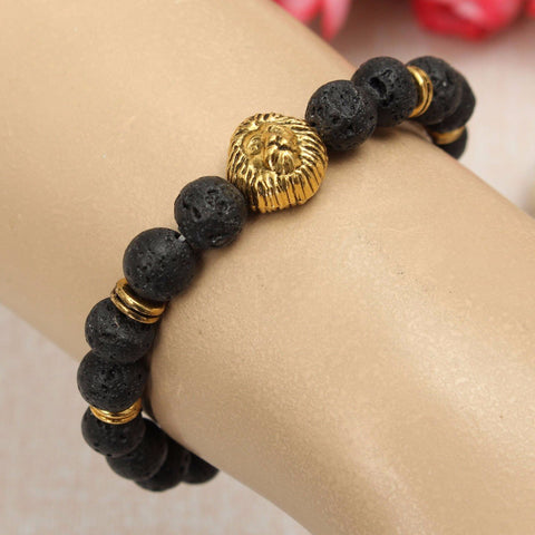 8MM Black Lava Stone Gold Head Lion Elastic Bracelet