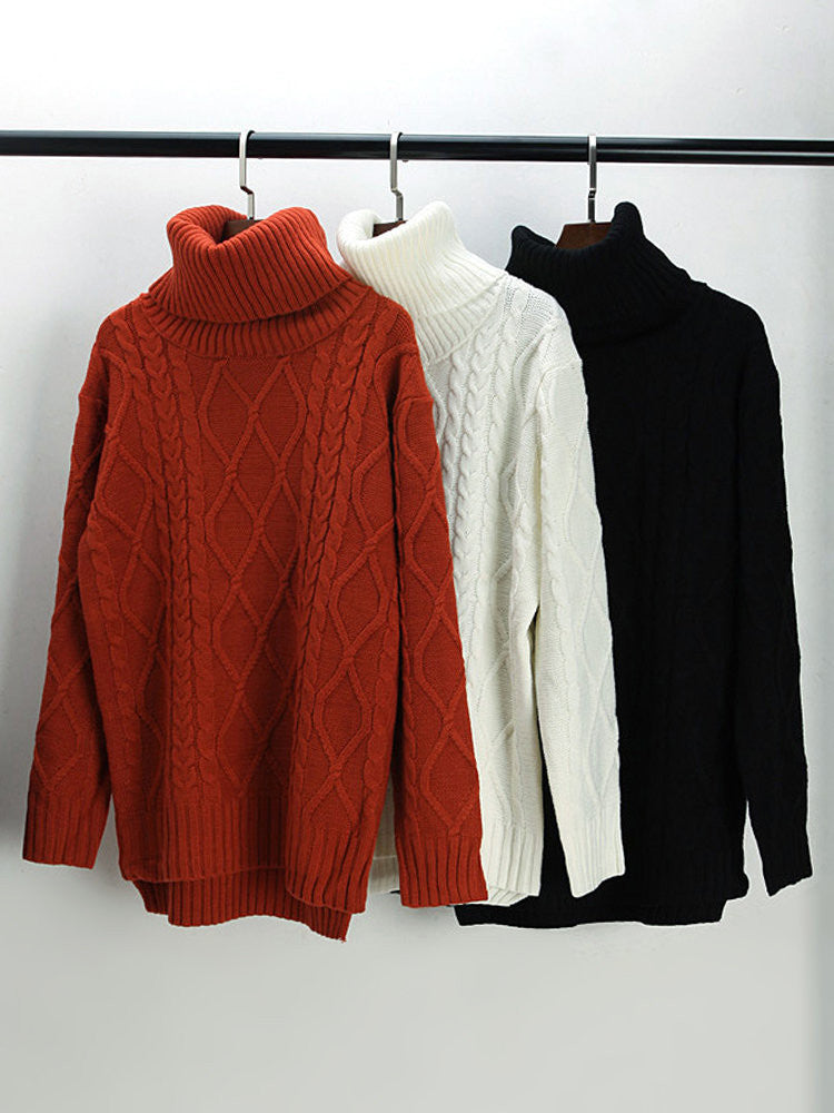 Women Long Sleeve Turtleneck Pure Color Thicken Loose Sweater