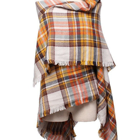 Plaid Grid Tassel Hem Scarf Soft Casmere Wrap Shawl