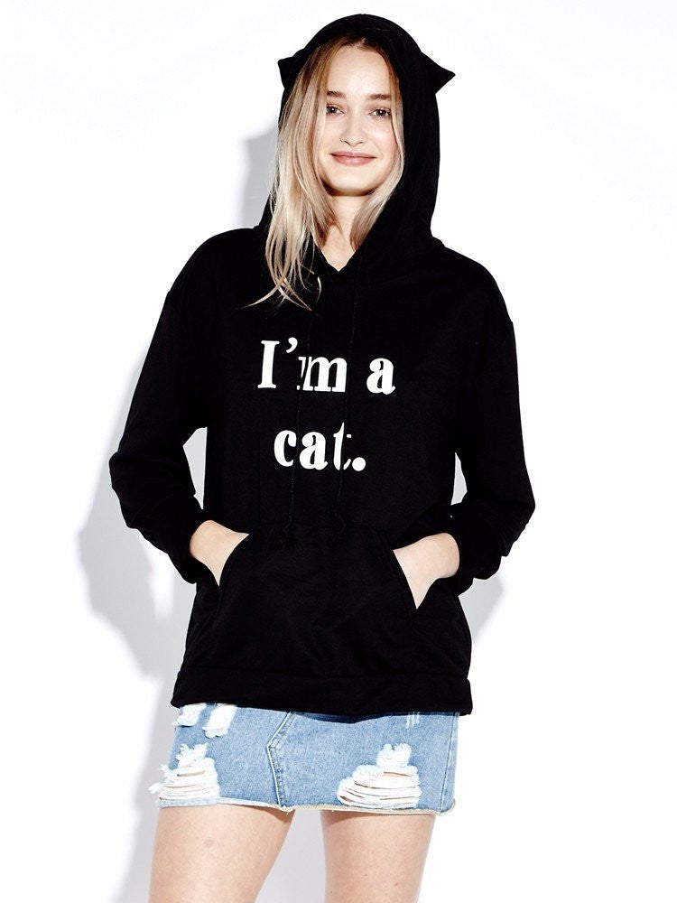 Women Casual Letter Print Cat Ear Hoodie