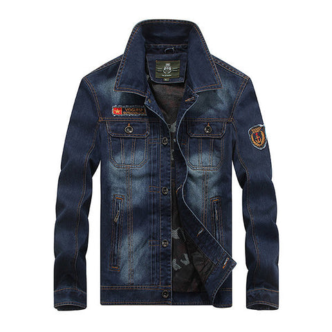 Korean Style Casual Slim Double Multi Pockets Denim Jackets for Men
