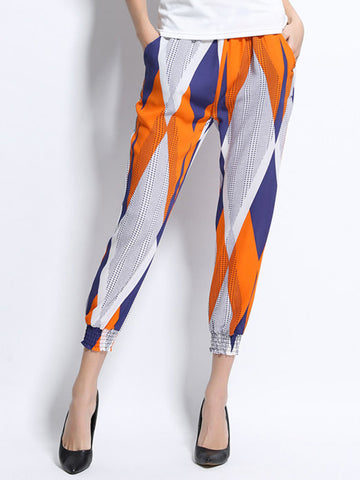 Women Printed Ankle-Length Bloomers Chiffon Pant