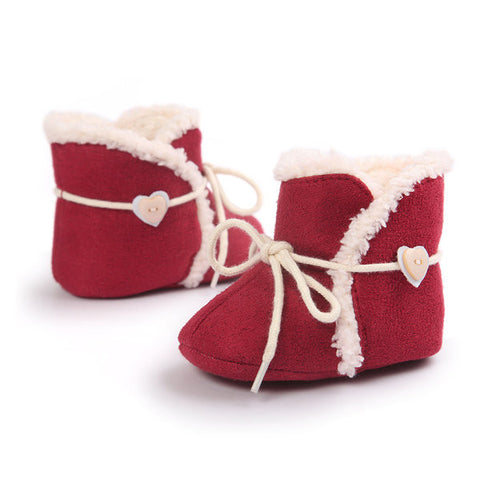 Red Pre-Wlaking Christmas Heart Lace Up Flat Warm Shoes For Baby