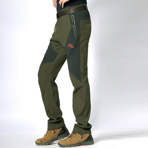 Mens Outdoor Sport Pants Elastic Soft Shell Warm Water-repellent Skiing Trousers