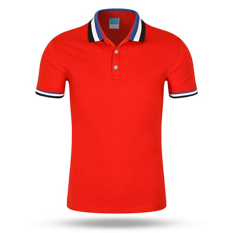 Mens Casual Solid Color Lapel Short Sleeve Polo Shirt