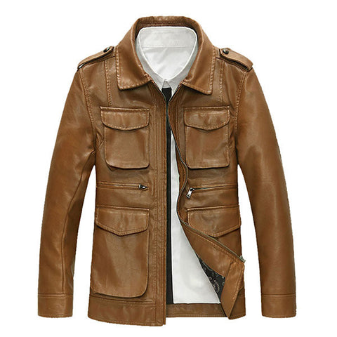 Motorcycle Style Outdoor PU Leather Multi Pockets Epaulets Jacket for Men