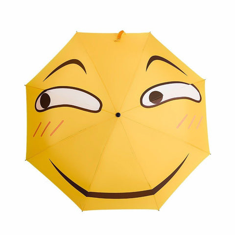 Folding Umbrella Funny Expression Emoji Face Long Umbrella Sunny Rainy Rain Gear
