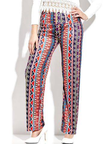 Boho Vintage Print Wide Leg Trousers For Women