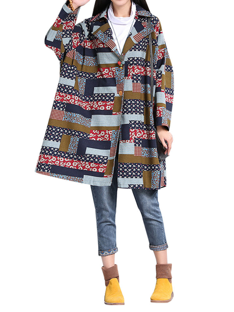 Women Ethnic Vintage Plaid Printing Turn-down Collar Long Sleeve Coat
