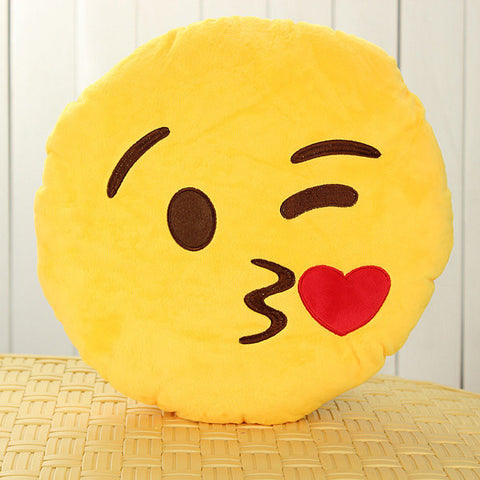 Emoji Smiley Emoticon Yellow Round Plush Pillow