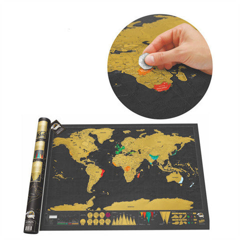 Black Luxury Scratch World Map Wallpaper Wall Stickers Home Decor Gift