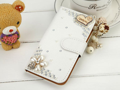 Rhinestone Crystal Leather Stand Wallet Flip Case for S7