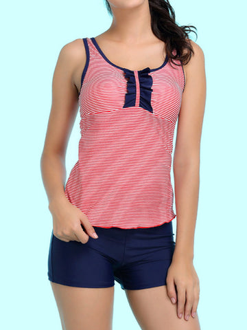 Back Hollow Out Stripe Elastic Tankini For Her