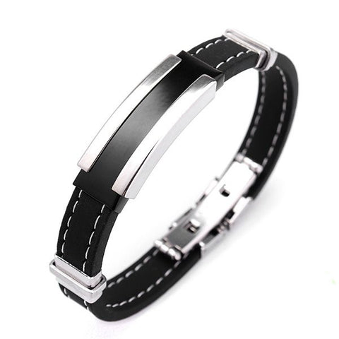 Black Rubber Silver Stainless Steel Bracelet