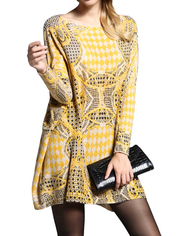 Amelie Geometric Print Knit Sweater Dress