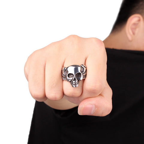 Punk Stainless Steel Skull Head Ring