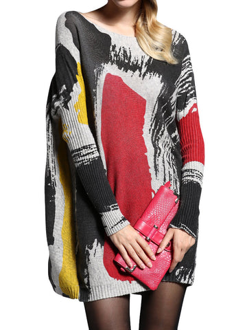 Amelie Loose Printed Knitted Sweater Dress