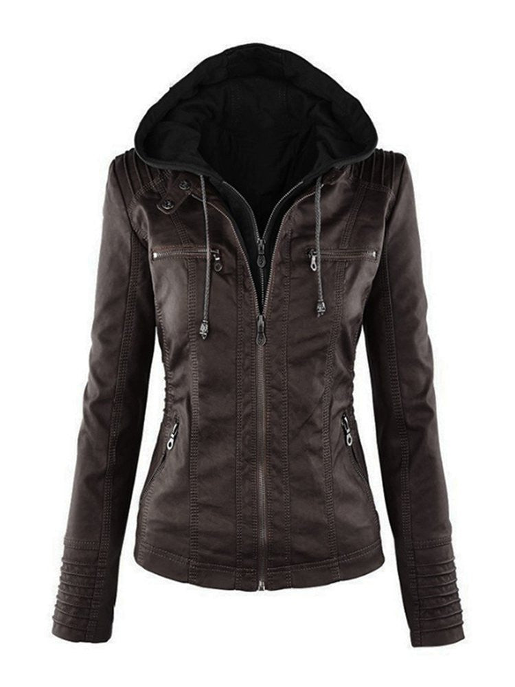 Women Casual Hooded Solid Color Long Sleeve Jacket