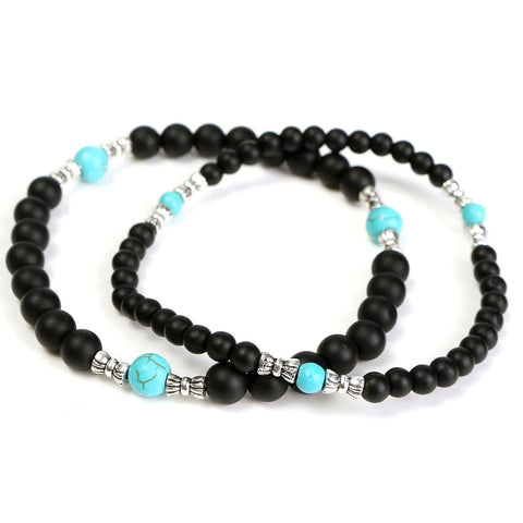 1Set 4MM 6MM Black Handmade Beaded Bracelet