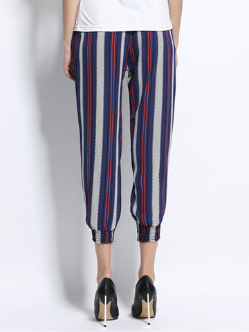 Women Stripe Ankle-Length Pocket Bloomer Chiffon Pant