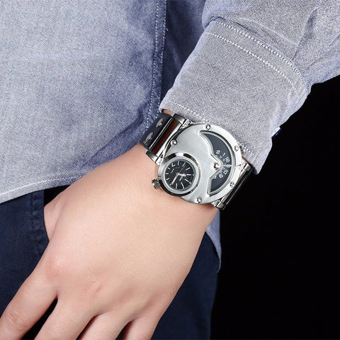 OULM Casual Watch Leather Alloy Two Movements Men Watch