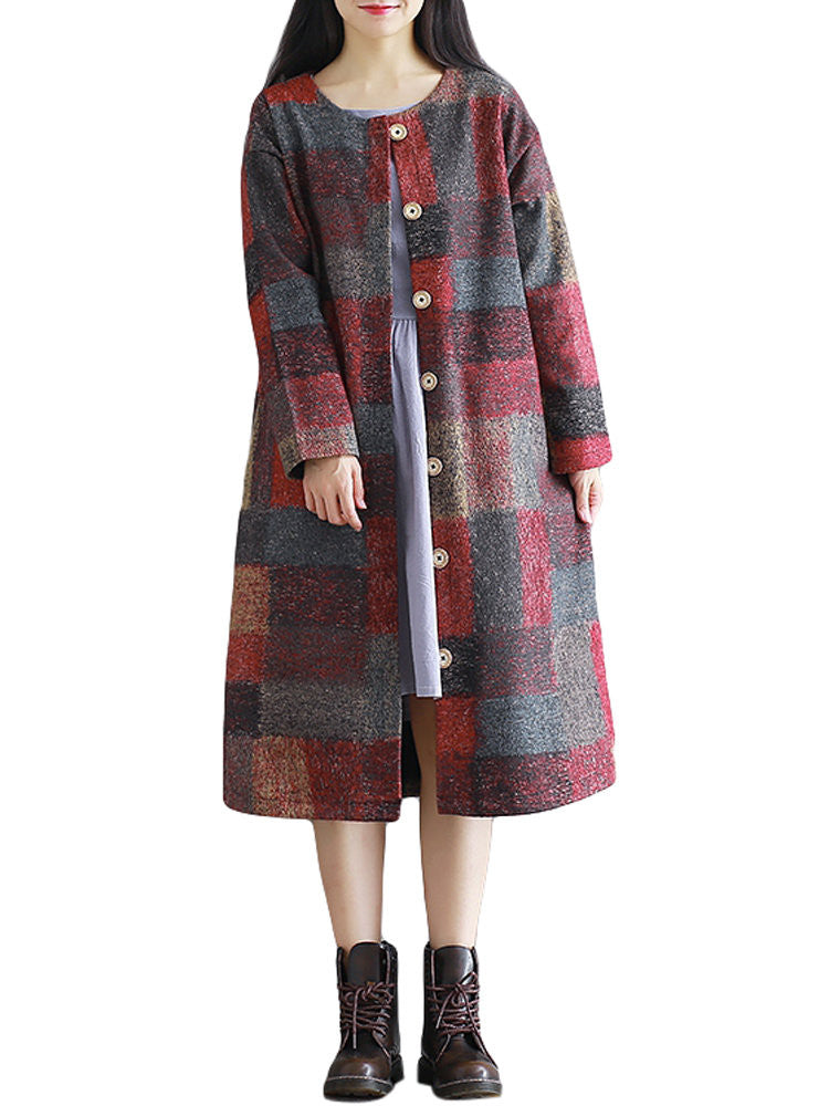 Fashion Loose Plaid Printing Long Sleeve Button Thicken Coat For Women