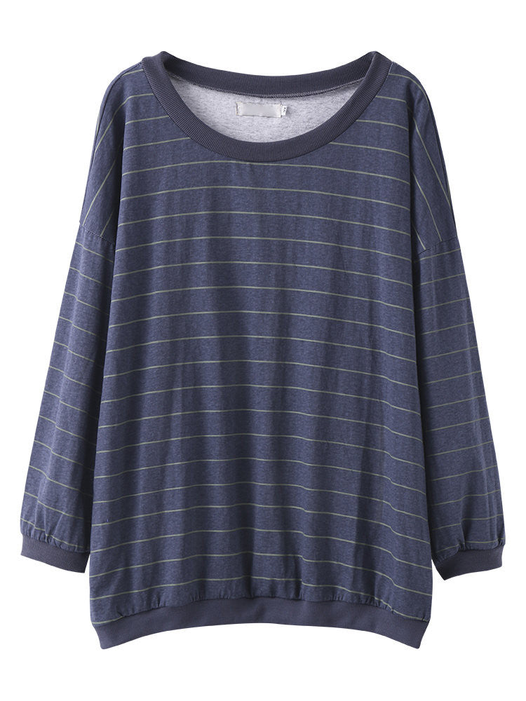 Sue Loose Striped Round Neck Tops